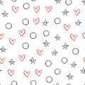 Seamless pattern with outlines of stars, hearts and circles.