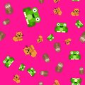 Seamless pattern of owl and cat frog