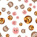 Seamless pattern of owl head of lion and pig