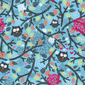 Seamless pattern with owls on blue and floral elements vector doodle illustration Stock Photo