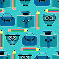 Seamless pattern with owls education theme Stock Photography