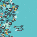 Seamless pattern with owls and flora vector doodle illustration Royalty Free Stock Photo