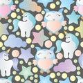 Seamless pattern with owls, unicorn and stars