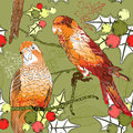 Seamless pattern with pair of budgies plants and vector berries Royalty Free Stock Image