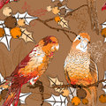 Seamless pattern with pair of budgies vector Royalty Free Stock Images