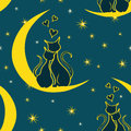 Seamless pattern with pair of lovers cats sitting on the moon Royalty Free Stock Photo
