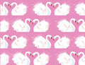 Seamless pattern with a pair of lovers swans and watercolor splashes Royalty Free Stock Photo