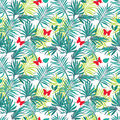 Seamless pattern palm leaves and butterflies