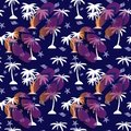 Seamless pattern palm tree, cockleshell and sandals for the beach on a blue background