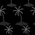 Seamless pattern with Palm tree embroidery stitches imitation