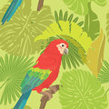 Seamless pattern with palm trees leaves and red blue macaw parrot ready to use as swatch Royalty Free Stock Photo
