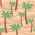 Seamless pattern with palm trees in sand. Coloful illustration