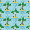 Seamless pattern palm trees sea island with and blue contours vector Stock Image