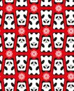 Seamless pattern with panda and flowers vector illustration Royalty Free Stock Photography