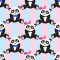 Seamless pattern with panda girl panda boy - vector illustration, eps