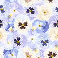 Seamless pattern with pansy flowers blue purple and white Stock Photo