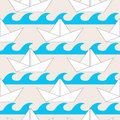 Seamless pattern with paper boats on the waves for textiles interior design for book design website background Royalty Free Stock Photography