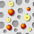 Seamless Pattern with paper cut apples and some gold.