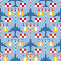 Seamless pattern with passenger airplanes, strip lights and signs