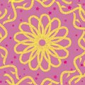 Yellow flower and yellow hand drawn ornaments on a pastel pink background