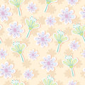 Seamless pattern of pastel tone flowers vector illustration background Royalty Free Stock Photo