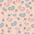 Seamless pattern with patches of hearts attached Stock Photo