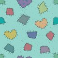 Seamless pattern with patchwork colorful and hearts Royalty Free Stock Photo