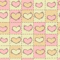Seamless pattern with patchwork valentine s day hearts Stock Images