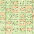 Seamless pattern with patchwork valentines day hearts Stock Photo