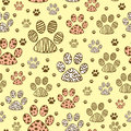 Seamless pattern with paws animal Stock Photography