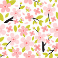 Seamless pattern from peach or cherry blossom tree branch with flowers