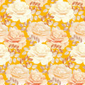 Seamless pattern of pearl color yellow rose.
