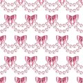 Seamless pattern with pearls and bows 3
