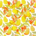 Seamless pattern with pears. Ideal for Wallpaper, fill patterns, paper, surface texture, textiles Royalty Free Stock Photo
