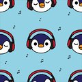 Seamless pattern penguin with red headphones and music note on blue background