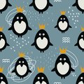 Seamless pattern, penguins in crowns