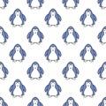 Seamless pattern with penguins. Cute penguin cartoon illustration. Animals pattern. Vector illustration