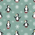 Seamless pattern. Penguins and snowflakes.