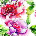 Seamless pattern with peonies flowers watercolor painting Stock Images