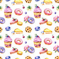 Seamless pattern with peony flower,leaves,succulent plant,tasty cupcake,pansy flower,macaroons,donuts,cookies,lemon and cherry che