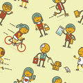 Seamless pattern with people of big city vector illustration Stock Photography