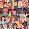 Seamless pattern with people faces of different ethnicity and ages. Parade or meeting crowd, men and women various