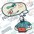 Seamless pattern with people on the topic of Internet