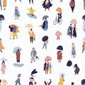 stock image of  Seamless pattern with people walking under umbrella on autumn rainy day. Backdrop with men and women under rain