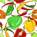 Seamless pattern of peppers abstract colorful on white background Stock Photography