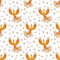 Seamless Pattern With Phoenix On White Royalty Free Stock Photo