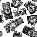 Seamless pattern with photo cameras