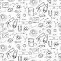 Seamless pattern with physic and astronomy elements vector illustration Royalty Free Stock Photo