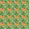 Seamless pattern with picnic basket and badminton set Royalty Free Stock Photo