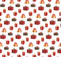 Seamless Pattern with Picture of Gift Boxes. Pattern gift box for fabric print, wrapping package gift box paper. Red